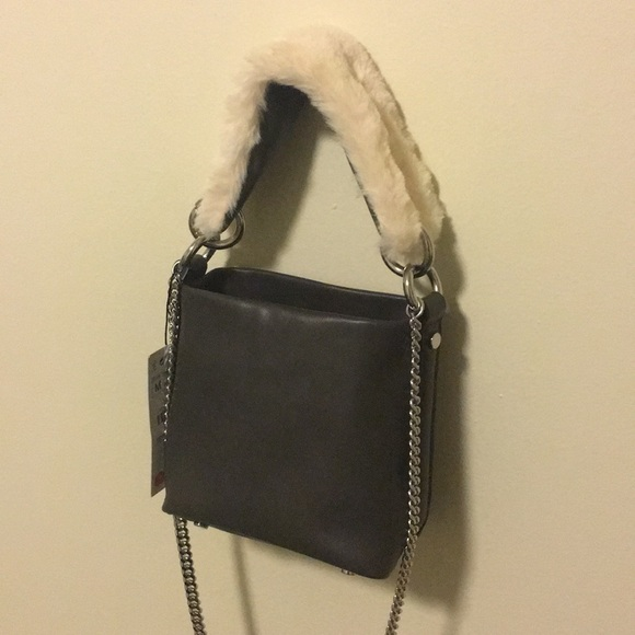 c4f7164a92 NWT Zara Faux Fur Strap Mini Bucket Bag in Gray